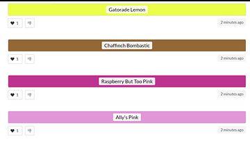 Kuvakaappaus Colournames-sivustolta