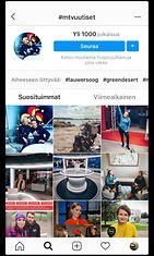 Hashtagin kokoomasivu. Kuvakaappaus Instagramista