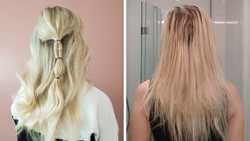 Hiukset aiemman kampaajakäynnin jälkeen ja 6 päivän pesemättömyyden jälkeen