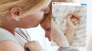 lapsen syöpä, kuvituskuva ja instagram