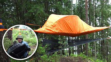 Minkälainen on ilmassa leijuva teltta? MTV Uutiset lähti testaamaan jännittävää puumajoitetta