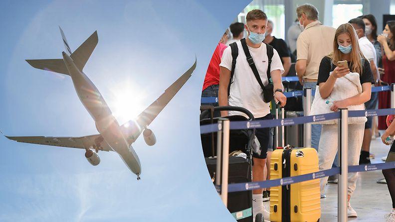 AOP, lentokenttä, maski, lentoasema, korona, koronavirus, lentokone