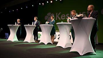 Keskusta pj-ehdokastentti Oulu 5.9.2020 Annika Saarikko, Katri Kulmuni, Petri Honkonen, Ilkka Tiainen, Jari Tasanen
