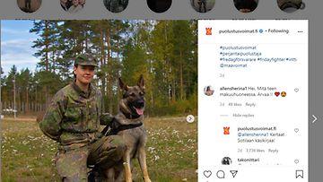 Puolustusvoimat Instagram-kuitti