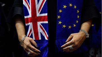Brexit Eu-lippu ja Britannian lippu