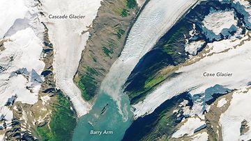 Vuoren rinteen liikkuminen ja halkeilu Barry Armissa Alaskassa huolestuttaa tutkijoita.