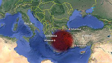 Turkki Kreikka maanjäristys