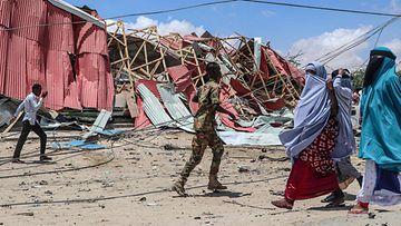 LK autopommin tuhoja Mogadishussa Somaliassa syyskuussa 2019
