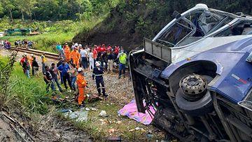 LK bussionnettomuus João Monlevaden kaupungin lähettyvillä Brasiliassa 4.12.2020
