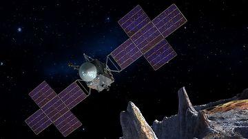 Taiteilijan näkemys luotaimesta 16 Psyche -asteroidin luona
