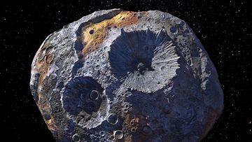Taiteilijan näkemys 16 Psyche -asteroidista