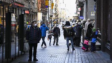 LK 25.12.2020 Alennusmyynti joulu ale Aleksanterinkatu Helsinki talvi