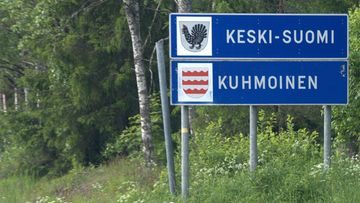 LK 010121 kuhmoinen kyltti kuntarajat maakunta