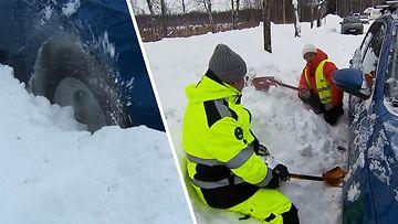 Kuinka saada lumeen juuttunut auto irti oikein ja turvallisesti?