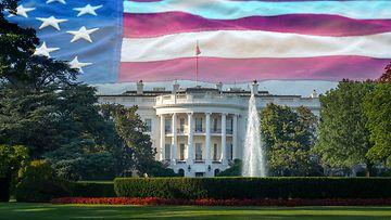 VJ valkoinen talo ja amerikan lippu