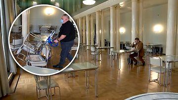 Hallituksen uudet tiukennukset näkyivät heti myös Arkadianmäellä – eduskuntatalon kahvilassa ei ole enää tarjolla kuin yhden hengen pöytiä