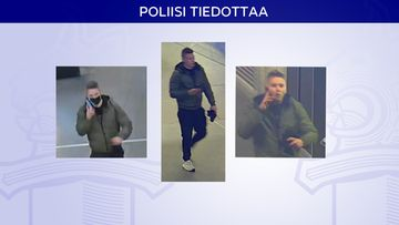 Poliisin etsimä henkilö kolmen kuvan sarjassa: Miehellä on valkoiset kengät, mustat housut, vihreä takki ja hän puhuu puhelimessa.
