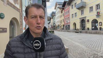 MTV:n kirjeenvaihtaja Heikki Piuhola raportoi yritysten tilanteesta Berchtesgadenin keskustassa Saksassa.