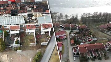 """130421-netti-kuva-Tampereen rivitalopalon tuhot taltioitui lukijan kameralle: """"Ei puhuta mistään pienestä ullakkopalosta"""""""