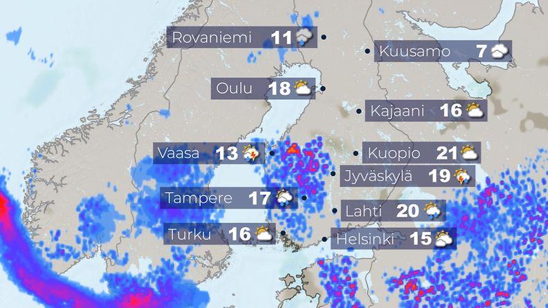 Lauantain (15.5.) iltapäivän lämpötilat.
