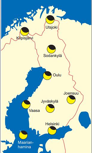 Näin auringonpimennys näkyy Suomessa 10.6.2021. Kuva: Ursa