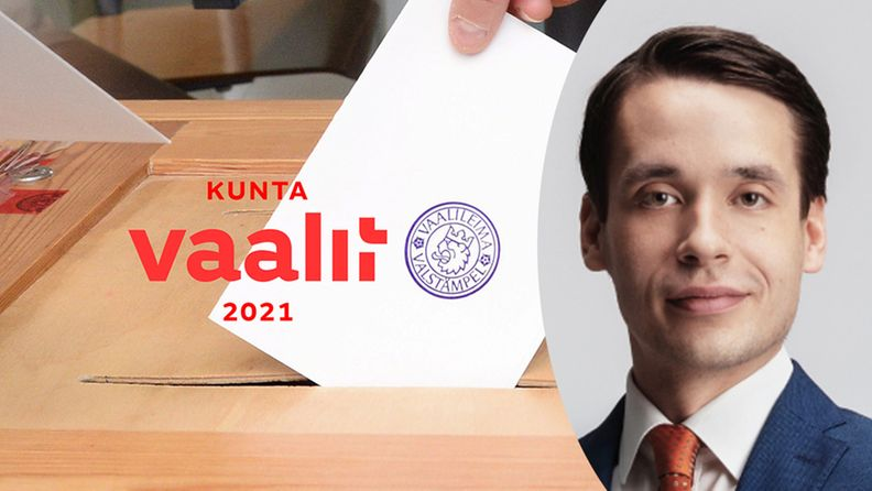 Kuvassa vaaliuurna ja henkilökuva rkp:n ehdokkaasta Henrik Wickströmistä.