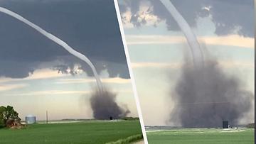 Jättimäinen tornado tallentui silminnäkijän kameralle – riepotteli paikallisia maatiloja