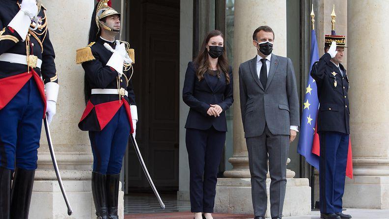 AOP: Sanna Marin ja Emmanuel Macron, Pariisi, palatsi, 1.7.2021