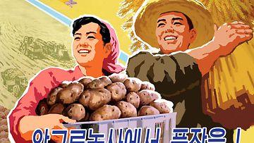 Pohjois-Korealainen juliste, jossa kansalaisia kannustetaan maanviljelyyn.