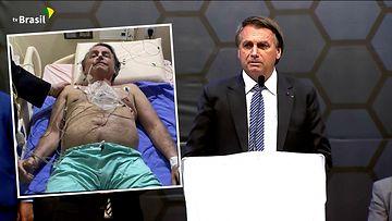 Brasilian presidentti Bolsonaro makaa sairaalasängyssä.