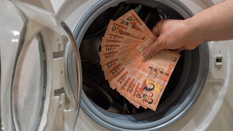 Henkilö laittaa suuren määrän rahaa pesukoneeseen.