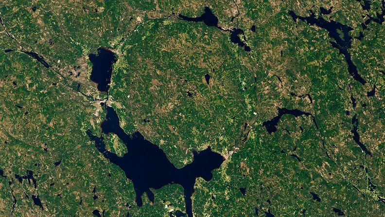 Satelliittikuva Siljan-kraaterista Ruotsissa.