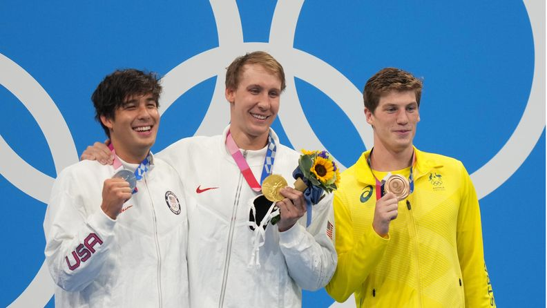 Silver medalist Jay Litherland of the USA, Gold medalist Chase Kalisz of the USA and Bronze medalist Brendon Smith