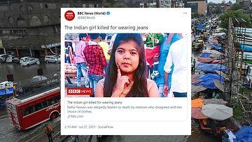 Kuvassa tapetuksi epäilty 17-vuotias intialaistyttö.