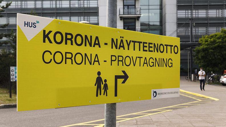 HUS Meilahden koronaviruksen näytteenottopiste Helsingissä.