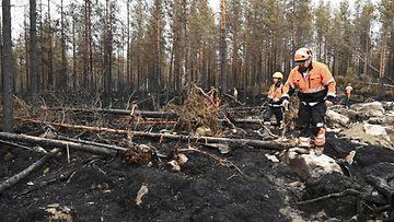 Pelastustyöntekijät rämpivät kaatuneiden puiden peittämällä turvemaalla Kalajoen palaneissa metsissä.