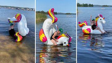 Vääksyläinen isoäiti päätti jäljitellä lastenlastensa uimapatja-temppuilua