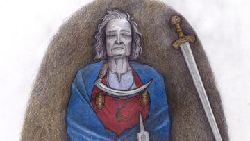 Vainaja makaa simmut kiinni miekka vierellään siniseen viittaan kääriytyneenä.