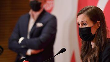 Pääministeri, puheejohtaja Sanna Marin puhui Sosialidemokraattisen eduskuntaryhmän kesäkokouksen tiedostustilaisuudessa Helsingissä 18. elokuuta 2021.