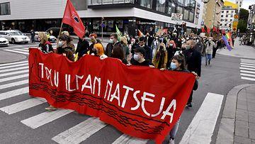 Turku ilman natseja -mielenosoitus Turussa 22. elokuuta 2021.