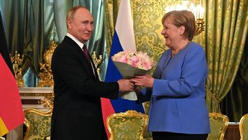 Angela Merkel tapasi Venäjän presidentti Vladimir Putinin valtiovierailulla 20. elokuuta 2021.