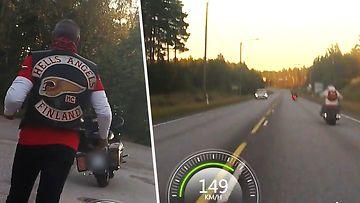 Hurja video: Moottoripyöräpoliisi jahtaa Helvetin enkeliä Hangossa