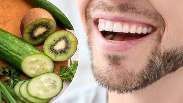 hampaiden valkaisu kiivillä ja kurkulla