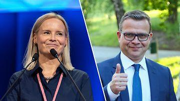 OMA Perussuomalaisten puheenjohtaja Riikka Purra ja kokoomuksen puheenjohtaja Petteri Orpo.