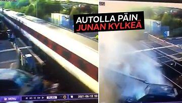 Rattijuoppo täräytti Range Roverilla ohi kiitäneen junan kylkeen Englannissa – valvontakamera tallensi törmäyksen