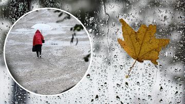 Kuvakollaasi naisesta, joka kävelee sateessa ja lehti on liimaantuneena sateiseen ikkunaan.