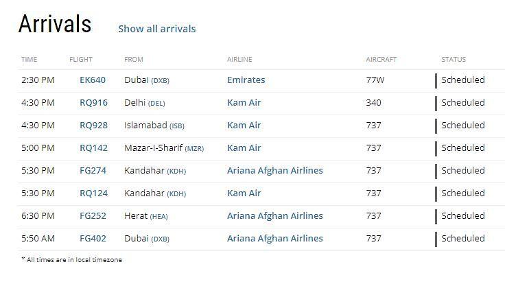 Kabuliin sapuvat lennot 26.9. Kuvakaappaus: Flighradar.