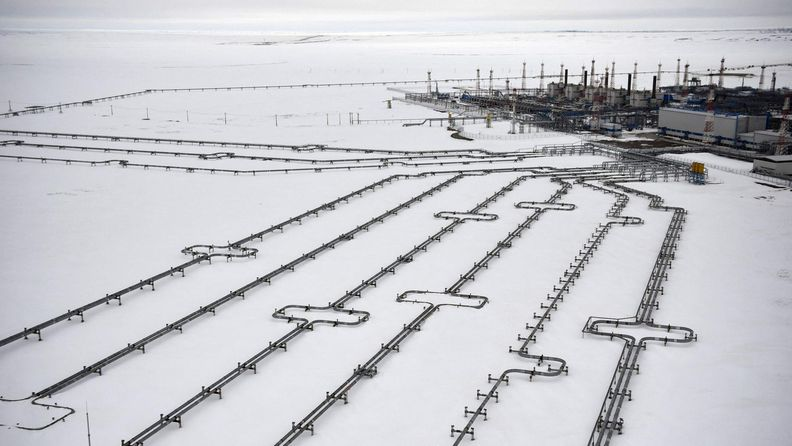 Bovanenkovon kaasukenttä Jamalin niemimaalla Siperiassa.
