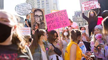 Texas aborttilain vastainen mielenosoitus New Yorkissa 2. lokakuuta.