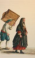 Akvarelli Giovanni de Grevembrochin teoksesta Gli abiti de Veneziani di quasi ogni età con diligenza raccolti e dipinti nel secolo XVIII (1981).
